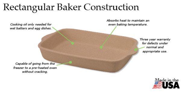 The features of the Rada Rectangular Baker.