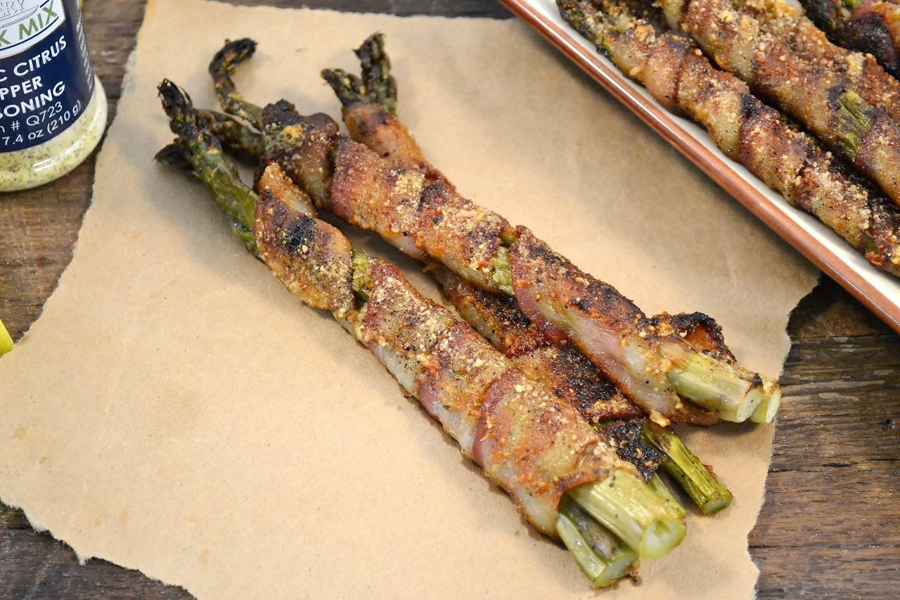 Delicious bacon-wrapped asparagus.