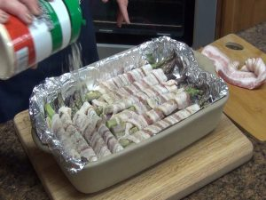 Jess prepares asparagus in a Rada Rectangular Baker.
