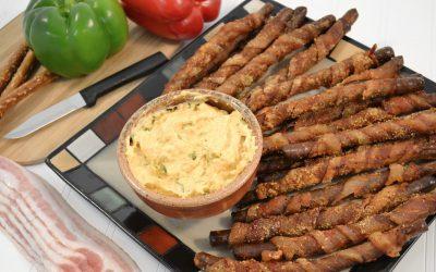 Bacon-Wrapped Pretzel Rods Recipe | Bacon Appetizer