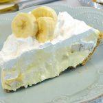 A beautiful slice of banana cream pie.