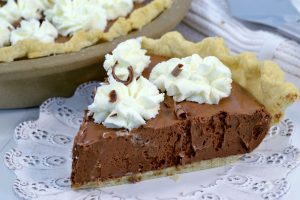A delicious chocolate silk pie.
