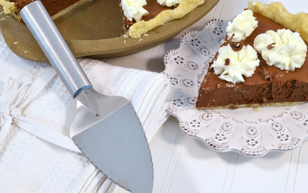 A delicious chocolate silk pie with a Rada Serrated Pie Server.