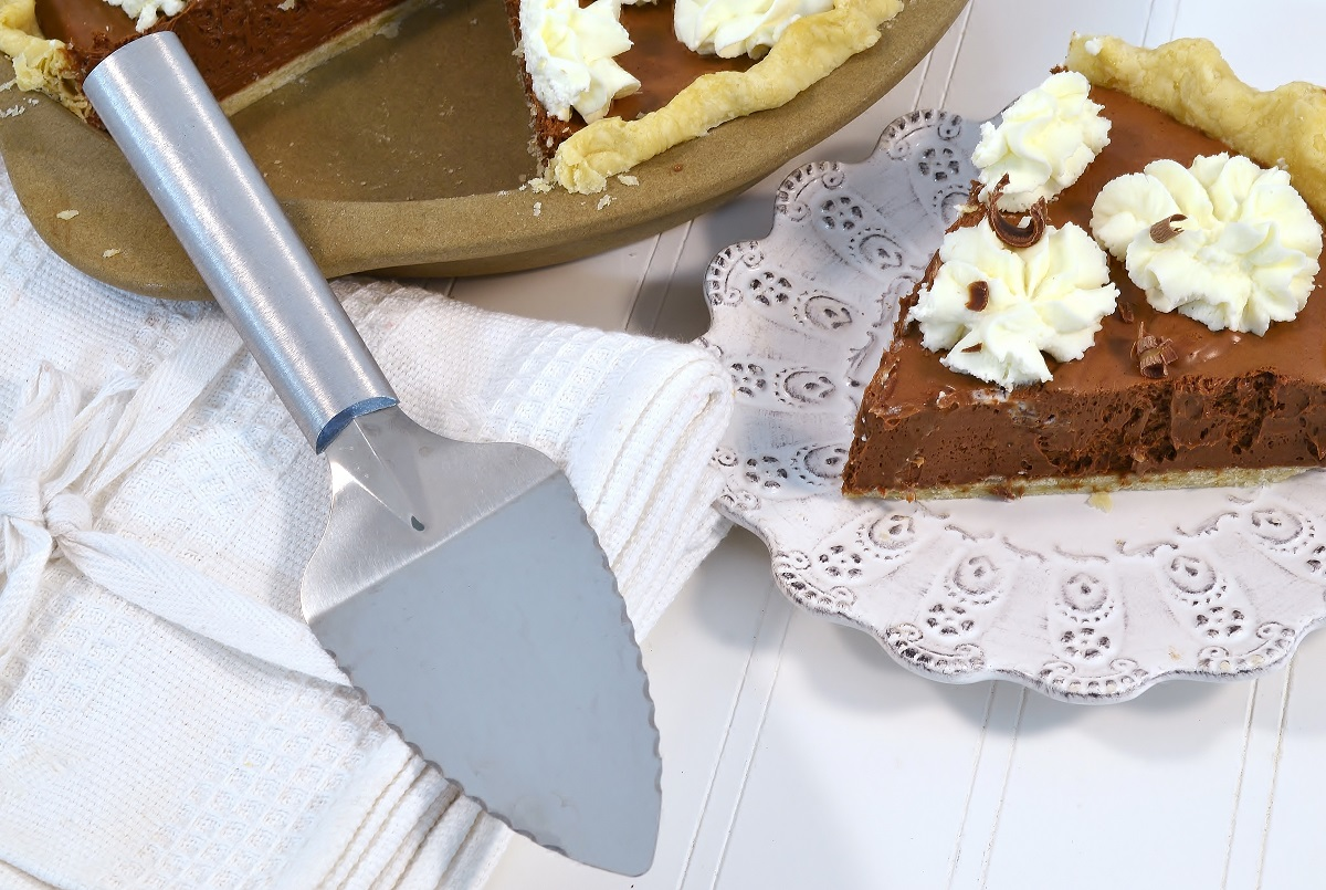 A delicious chocolate silk pie with a Rada Serrated Pie Server.