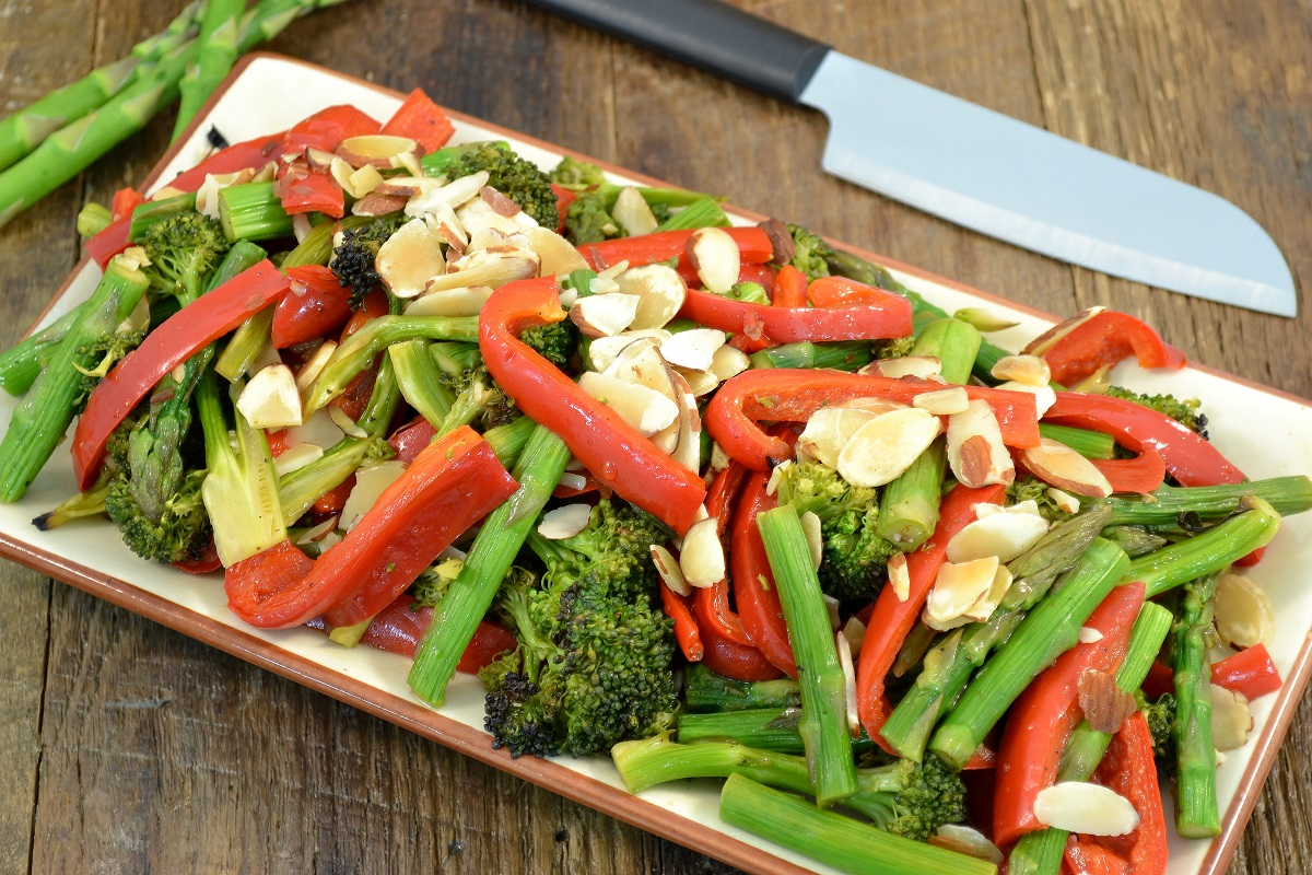 A gorgeous plate of broiled vegetables.