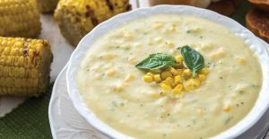 A bowl of corn chowder made from Rada's Roasted Corn Chowder Quick MIx.