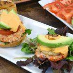 Salmon burgers with yum yum sauce.