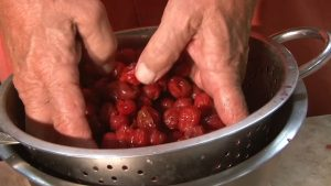 Dan Fitzgerald drains cherries.