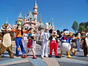 Disney characters at Disneyland.