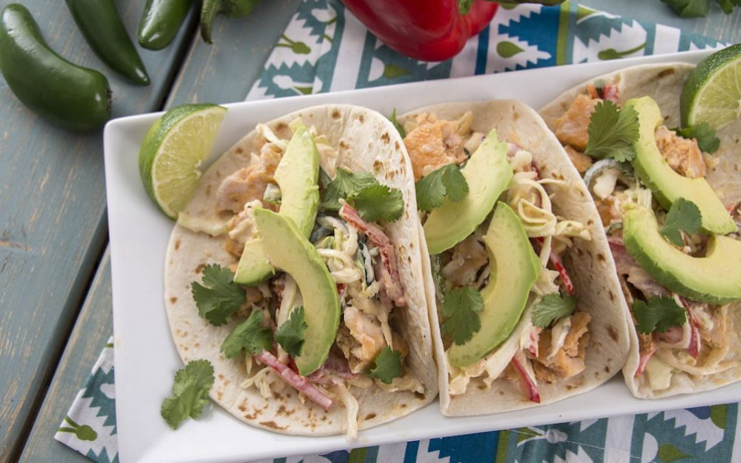 A plate of delicious fish tacos.