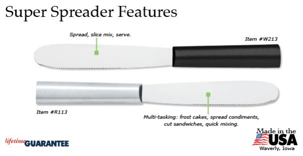 Rada's fantastic steel Super Spreader kitchen utensil has many features.