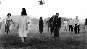 "Zombies move across an open field in George A. Romero's 1968 film ""Night of the Living Dead."""