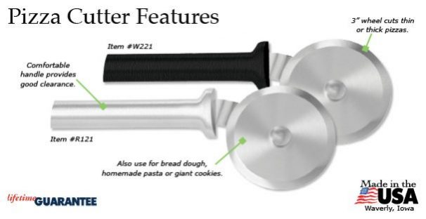 The Rada Pizza Cutter features.