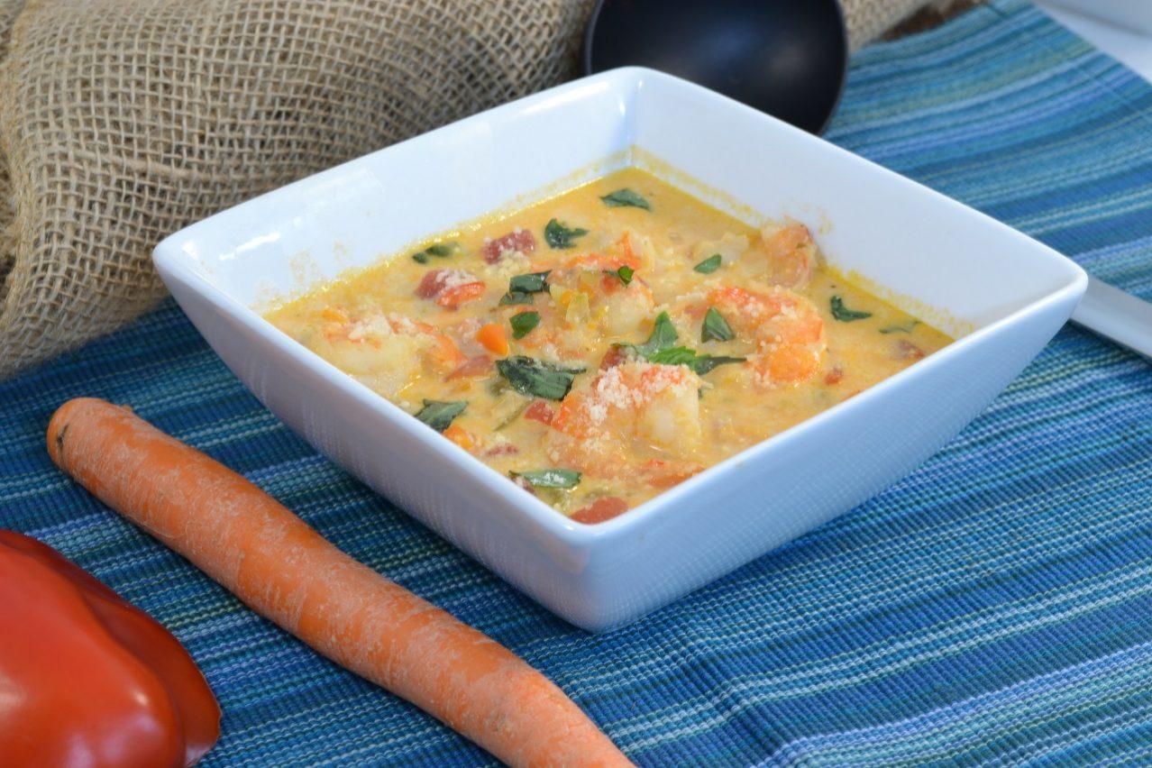 A delicious shrimp bisque dish with a Rada Non-Scratch Soup Ladle.