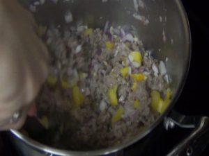 Jess cooks turkey.
