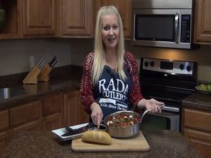 Jess poses with a completed Italian Chicken Sausage recipe.