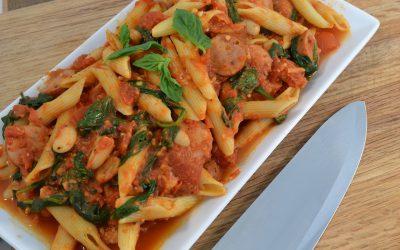 Turkey Sausage Pasta Recipe | Penne with Turkey Sausage