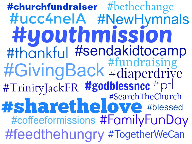 An image demonstrating a number of social media hashtags.