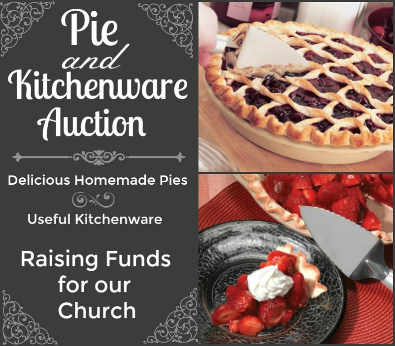 An image advertising a pie auction for church fundraising.
