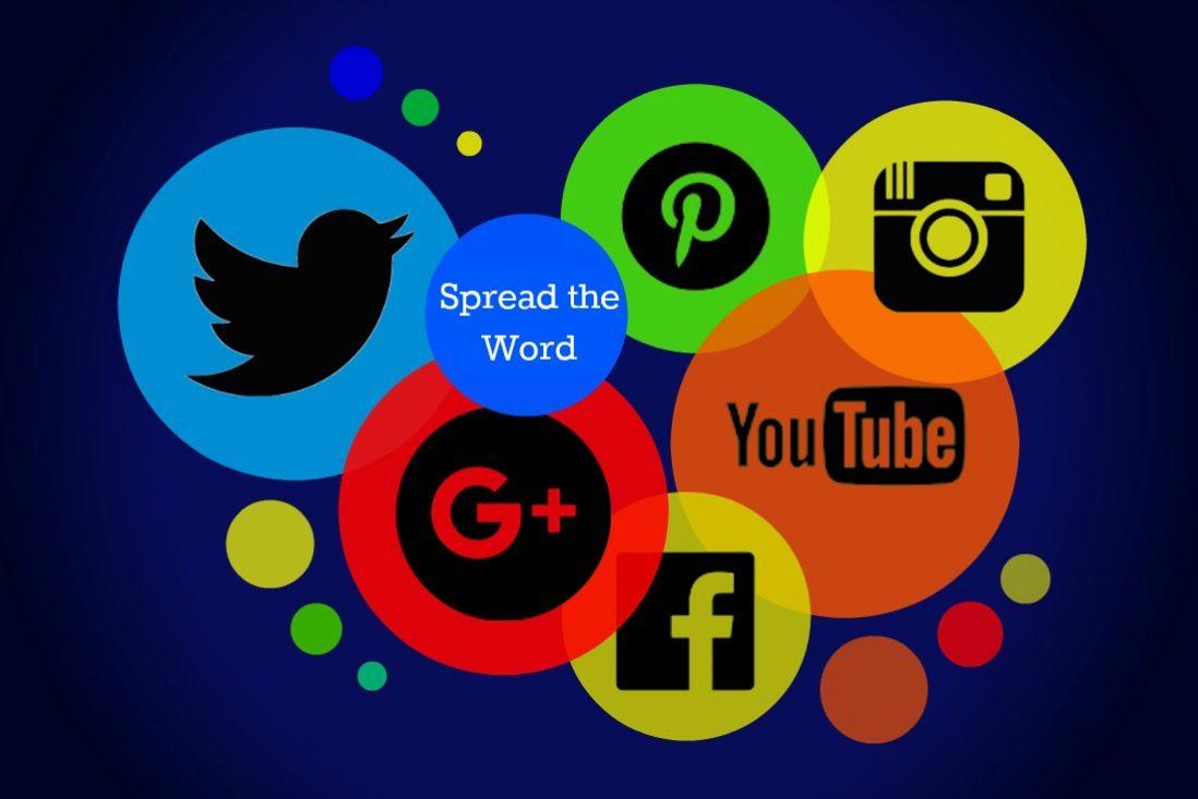A graphic illustrating various social media platform logos.