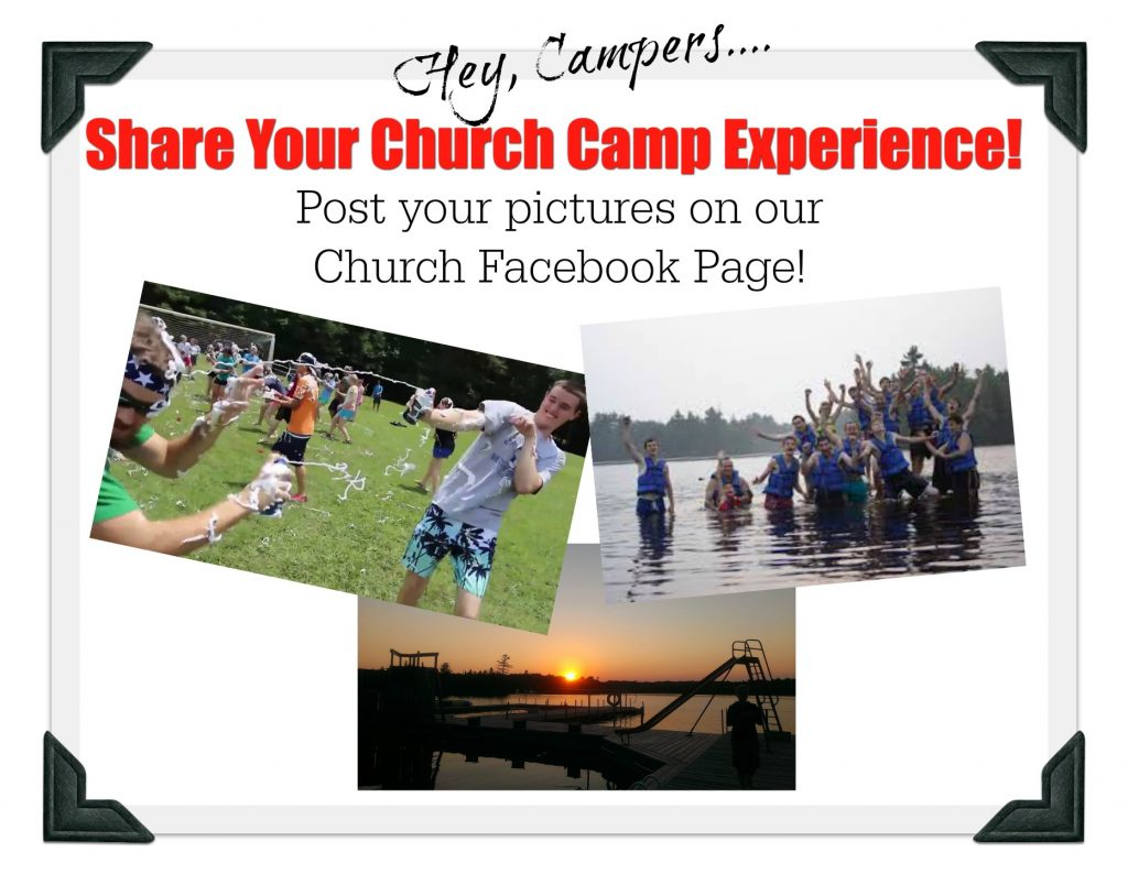 A graphic that asks people to share their positive experiences with church camp.