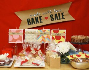 A bake sale with delicious desserts.