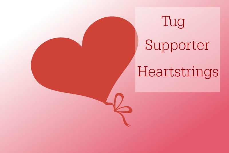 """A graphic reading """"Tug at the Heartstrings"""""""