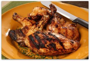 A plate of delicious cooked chicken.