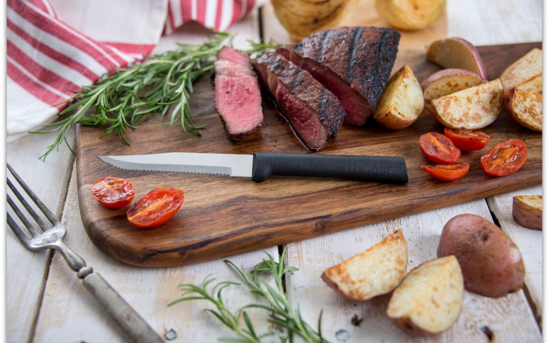 A delicious steak with a Rada Serrated Steak Knife.