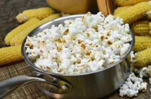 A pan of freshly-popped popcorn.