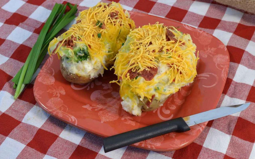 Delicious chicken and broccoli stuffed potatoes.