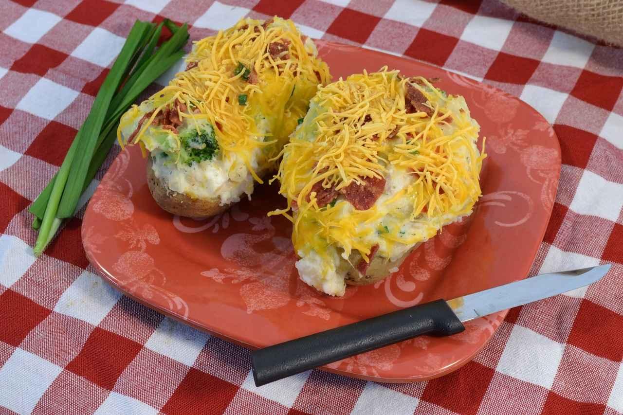Delicious chicken and broccoli stuffed potatoes.