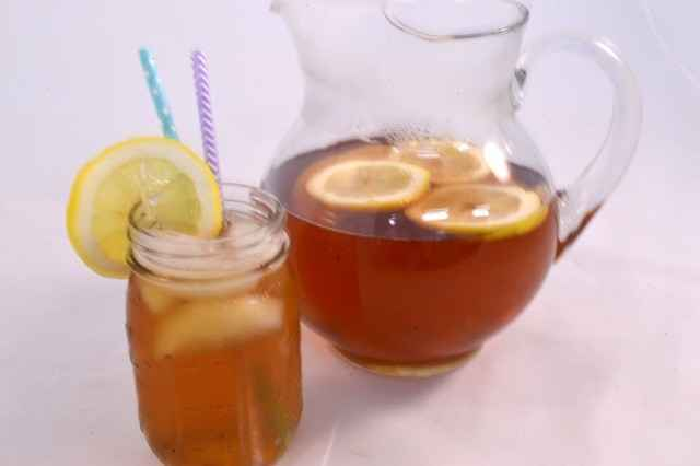 A pitcher of sun tea.