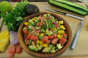 A bowl of delicious watermelon salsa.