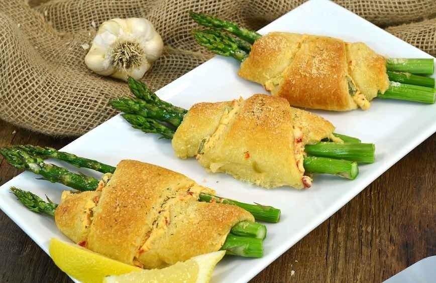 Delicious asparagus roll-ups made with Rada Cutlery products.
