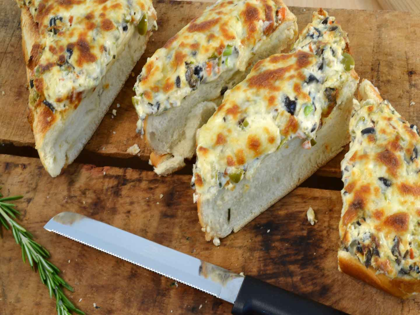 """Delicious olive bread with a Rada 6"""" Bread Knife."""
