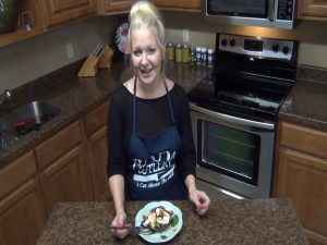 Jess with a complete portabella mushroom salad.