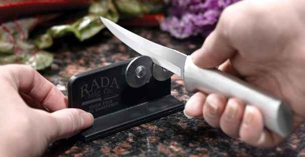 A Rada Knife Sharpener sharpens a Rada knife.