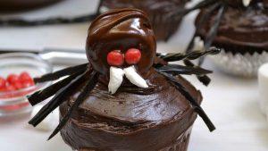 A delicious spider cupcake.
