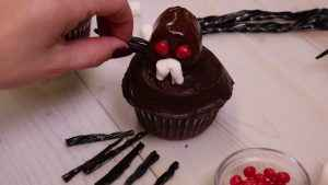 Licorice is added to cupcakes.