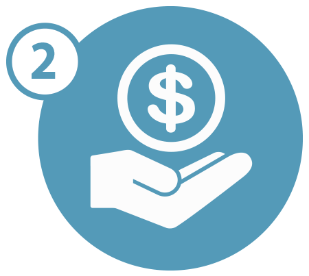 Hand holding money icon with the number two in a blue circle