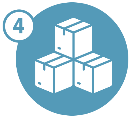 Three stacked boxes icon with the number four in a blue circle
