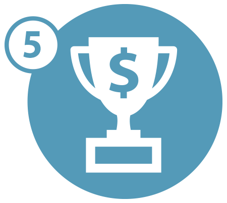 Trophy with dollar sign on it icon with the number five in a blue circle