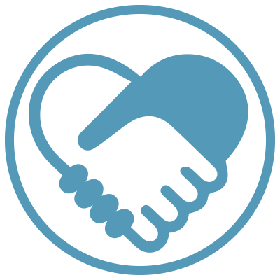Shaking hands icon in a blue circle