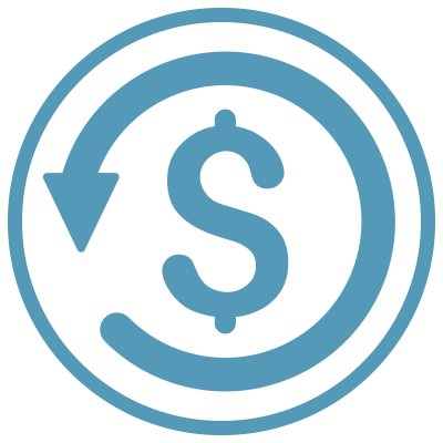 Dollar sign icon surrounded by a counter-clockwise arrow in a blue cirlce