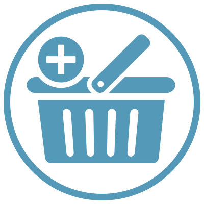 Shopping cart with plus sign icon in a blue circle