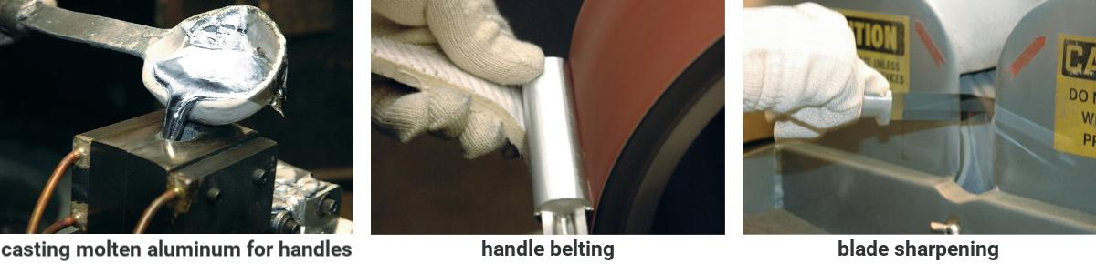 Three images depicting handle casting, handle belting, and blade sharpening