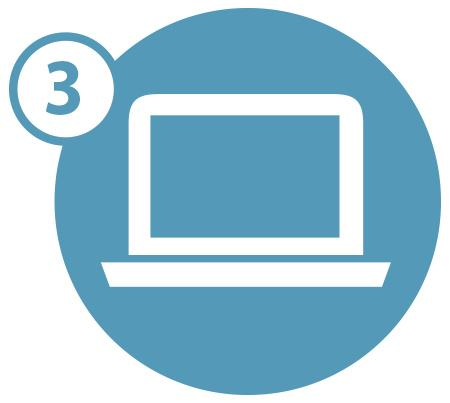 Laptop icon with the number three in a blue circle