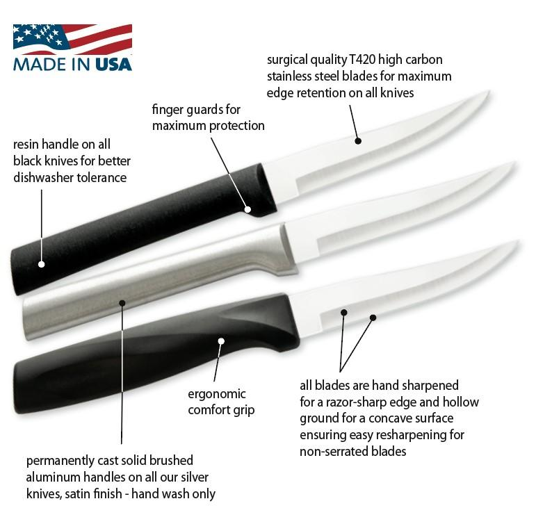 Three Rada Knives displaying the different handle options of black, silver, and anthem wave