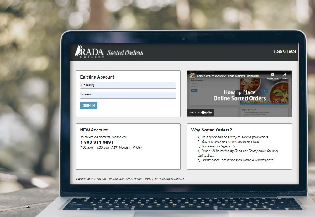 Computer screen showing the Rada Fundraising Sorted Orders website